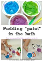 Pudding paint in teh bath a baby and toddler activity
