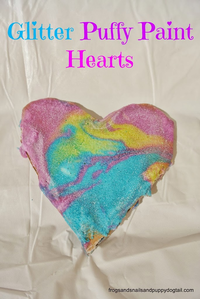 DIY Glitter Puffy Paint to Make Valentine's Day Hearts