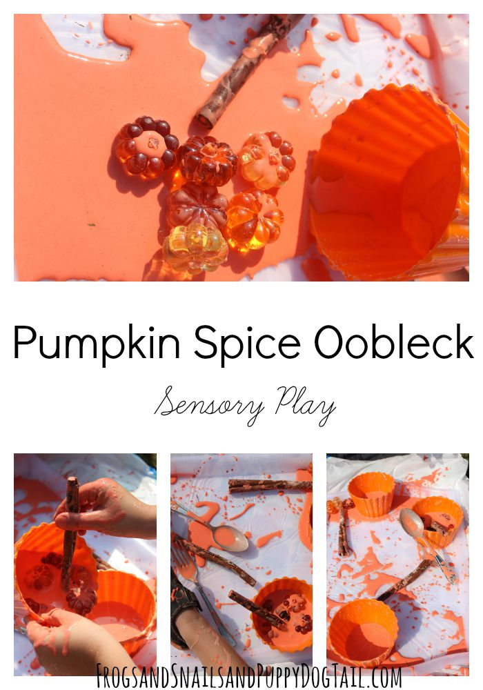 pumpkin spice oobleck sensory play activity idea for kids