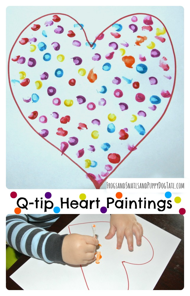 q-tip heart paintings for kids