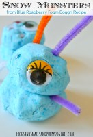 Snow monsters made from DIY blue raspberry foam dough play recipe