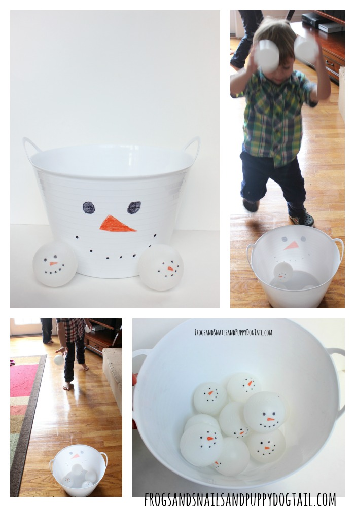 snowman ball toss game gross motor skills