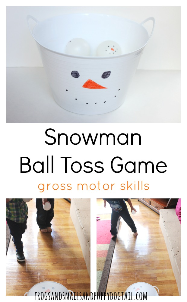 snowman ball toss game for gross motor skills