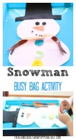 snowman busy bag activity idea for kids