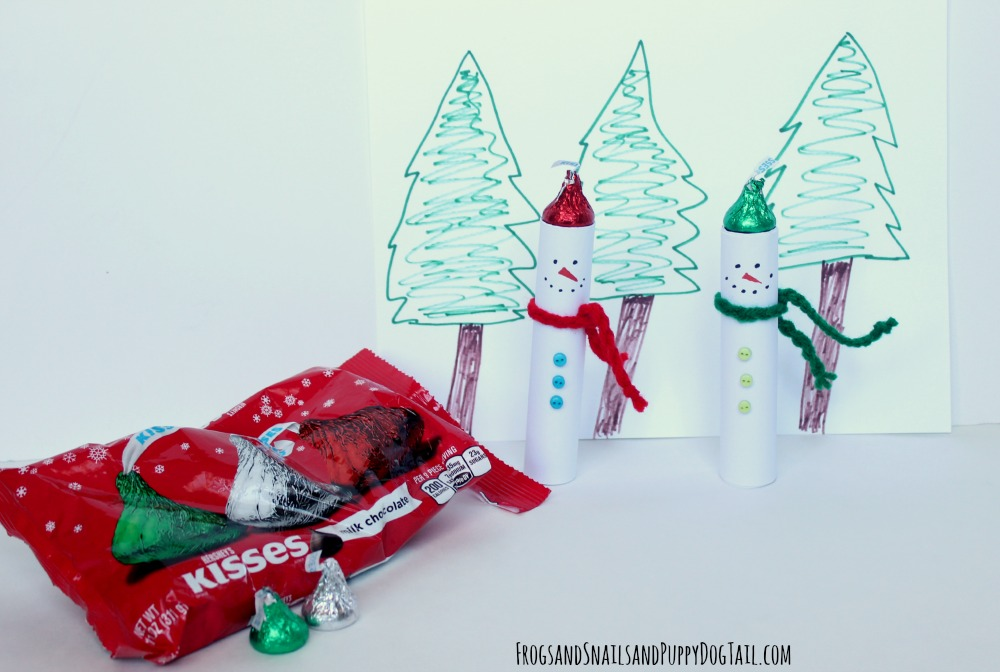 snowman craft with Hershey kisses