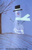 snowman footprint art for kids