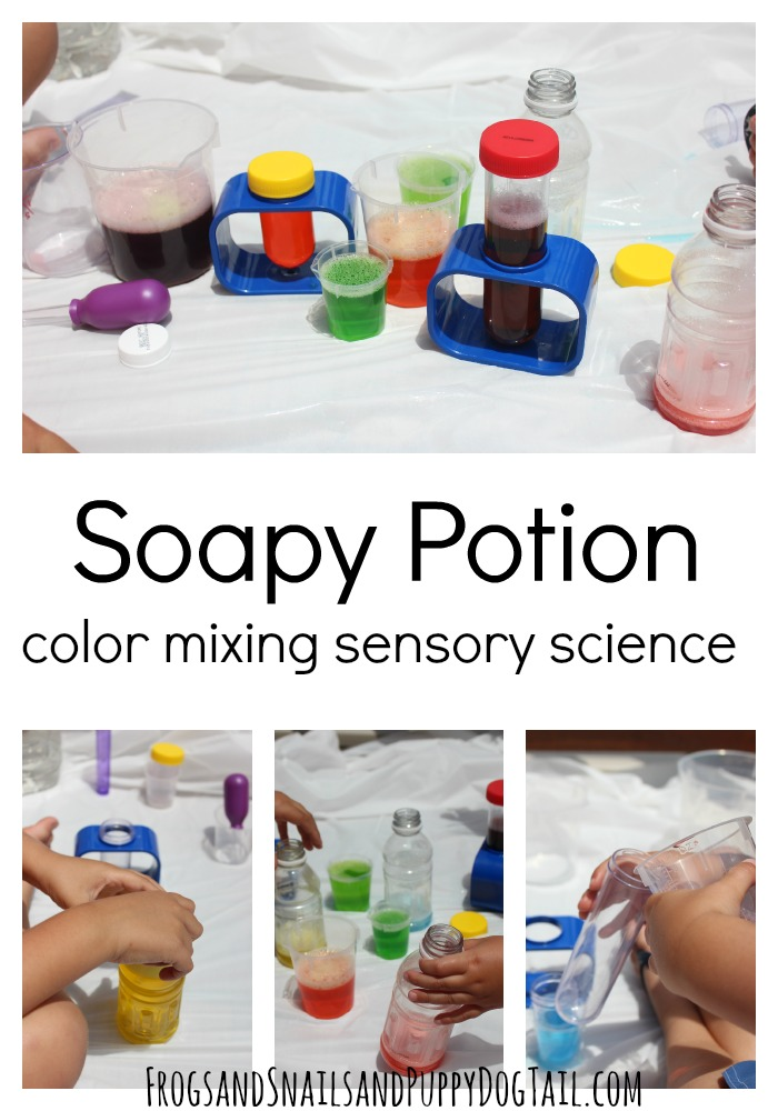 Soapy Potion Color Mixing sensory and science for the kids