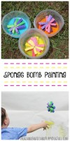 sponge bomb painting for kids. Fun sensory art for summer.