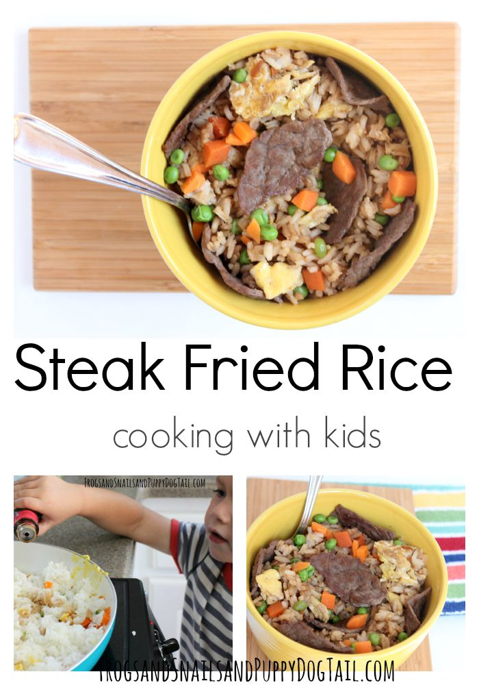 steak fried rice cooking with kids