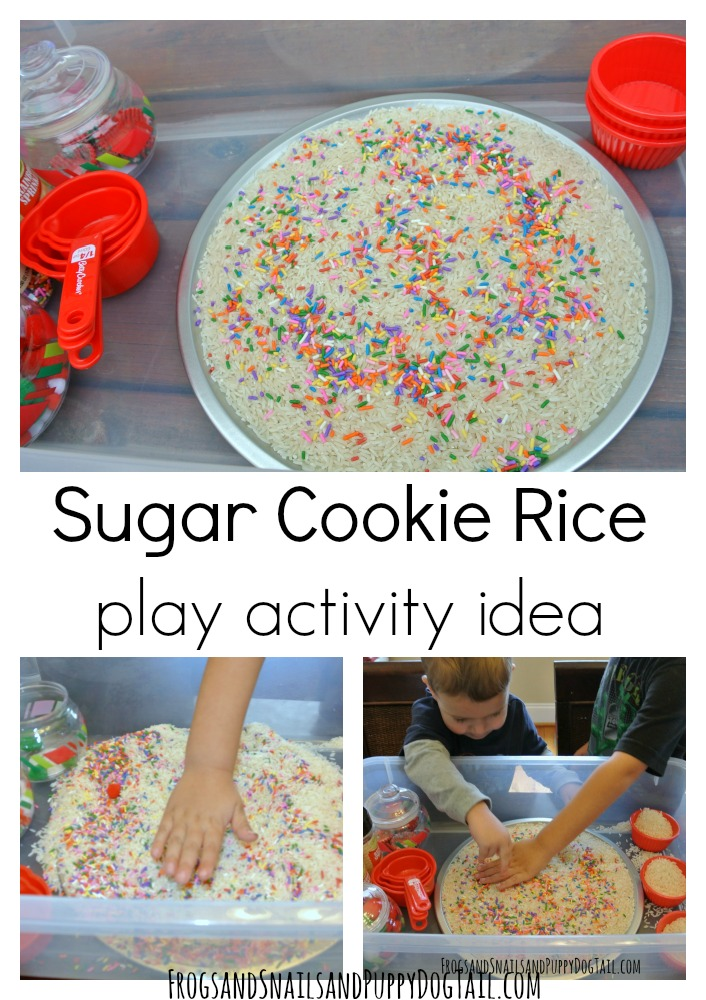 sugar cookie rice play activity idea for kids. Fun Christmas sensory play ideas.