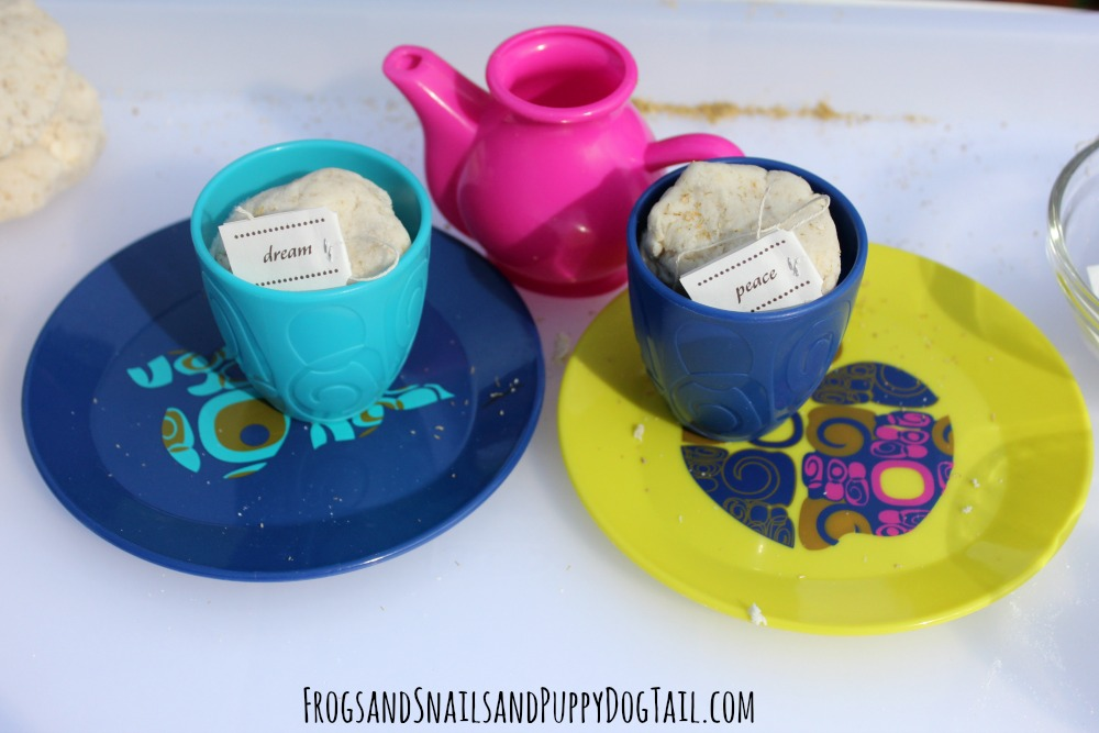 tea playdough play activity for kids