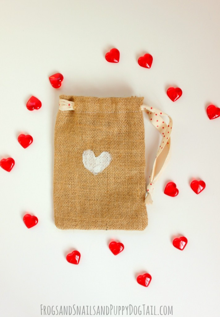thumbprint hearts on burlap bag
