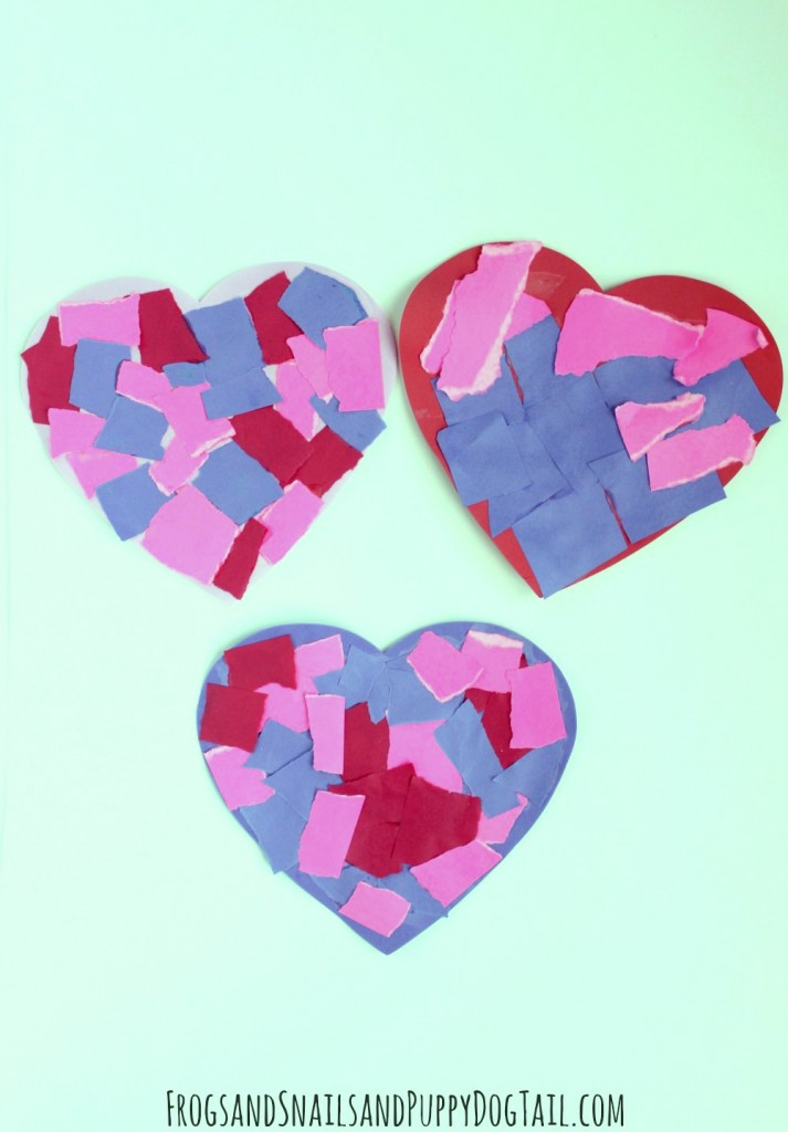 torn paper heart craft