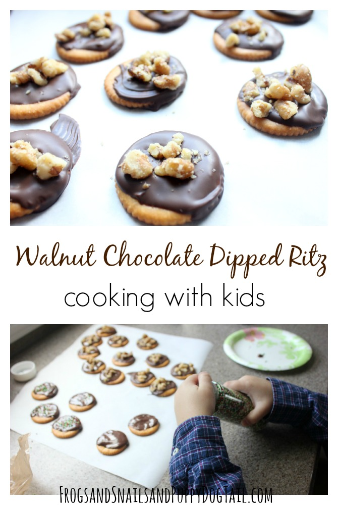 walnut chocolate dipped ritz cooking with kids